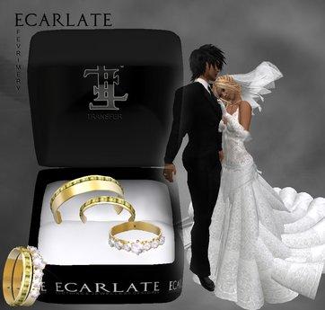 Ecarlate - Alliance Women/Men + Engagement Ring- Gold - FevriMery