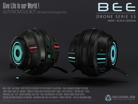 BEE DRONE S5 (Black/Army) (Security/Greeter/Visitor Tracking System) [NeurolaB Inc.] Cyber Cyberpunk Sci-fi