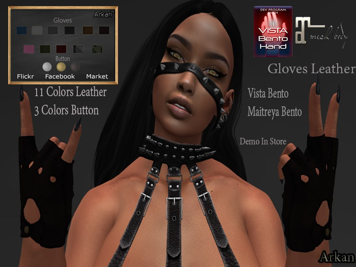 .::Arkan::. Gloves Leather Bento {Maitreya,Vista}
