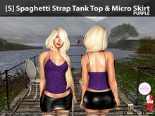 [S] Spaghetti Strap Tank Top & Micro Skirt Purple