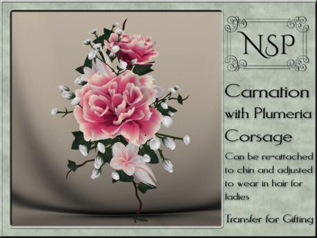 NSP Carnation & Plumera Corsage - Pink Ripple