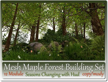 Mesh Seasons Maple Forest Building Set 12 Module+10 Trees c-m