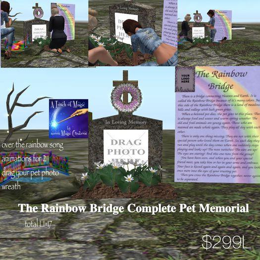 Complete Pet Memorial The rainbow Bridge for 2-Crate