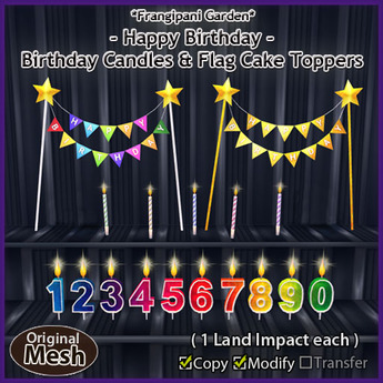 *FG* Birthday Candles & Flag Cake Toppers
