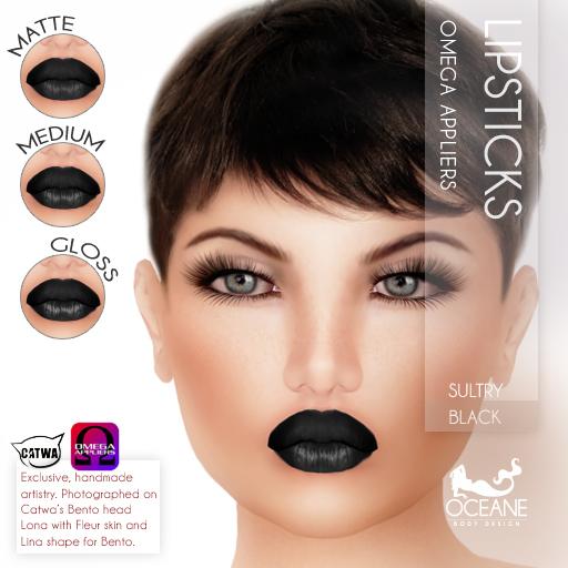 Oceane - Sultry Lipsticks 3 styles - Black [Omega]