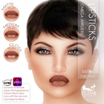 Oceane - Sultry Lipsticks 3 styles - Chestnut [Omega]