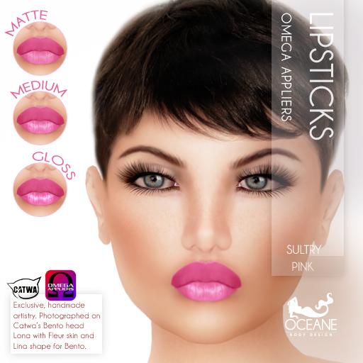 Oceane - Sultry Lipsticks 3 styles - Pink Omega