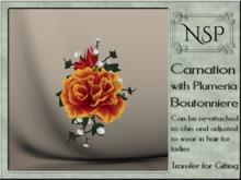 NSP Carnation & Plumera Boutonniere - Strawberry Banana