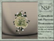 NSP Carnation & Plumera Boutonniere - Sage Green