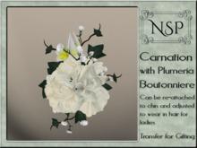 NSP Carnation & Plumera Boutonniere - White