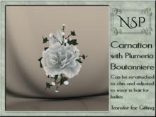 NSP Carnation & Plumera Boutonniere - Monochrome