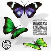 Schadenfreude Green Morpho&Purple Forester Monarch Butterflies