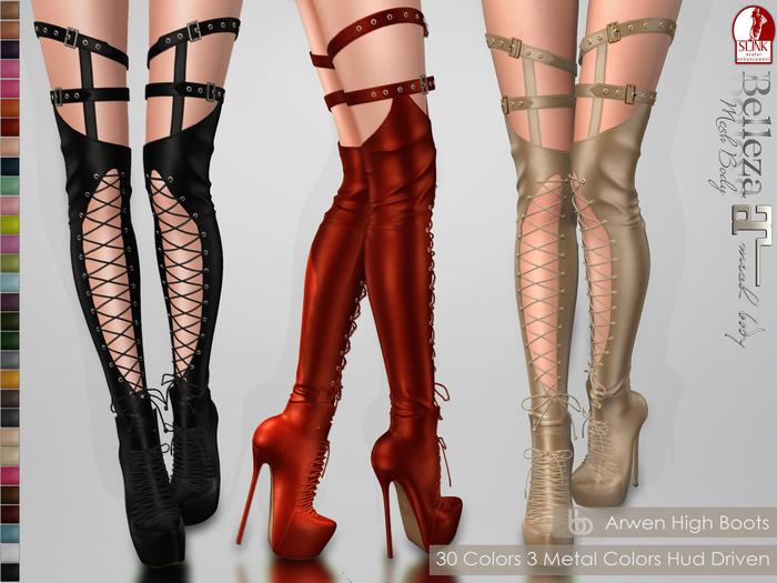 Bens Boutique - Arwen High Boots - Hud Driven Maitreya,Slink(all),Belleza(all)