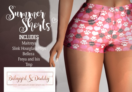 Babygirl&Daddytoo!-Summer Shorts-pawprints