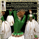 Wunderlich's Victory - green-gold Rococo Zone-front gown