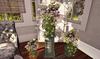 CJ Cozy Rose Arrangement pink white Urn & Pedestal Set ~ c + m ~