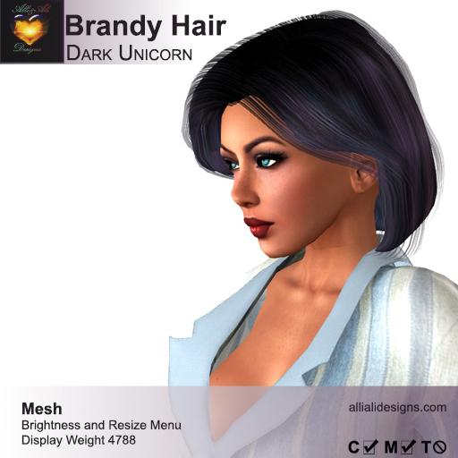 A&A Brandy Hair Dark Unicorn (FUNCTIONAL DEMO). Womens mesh hairstyle