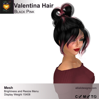 A&A Valentina Hair Black Pink (FUNCTIONAL DEMO). Resizable mesh womens updo hairstyle