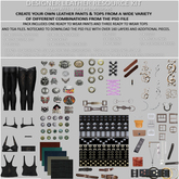 TD TEMPLATES Designer Leather Resource Kit TGA & PSD FILES- FULL PERMS