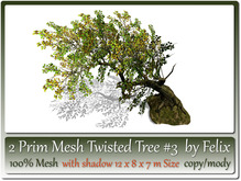 2 Prim Mesh Twisted Tree by Felix 12x8x7 m Size copy-mody