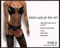 J's Front Lace-up Bra set (Black)
