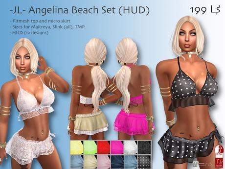 -JL- Angelina Beach Set (HUD) for Maitreya, Slink (all), TMP