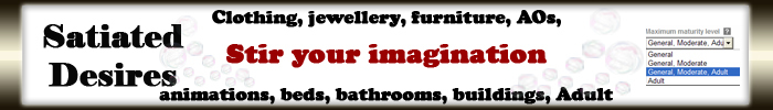 Animations, beds, furniture, clothing, jewellery, jewelry