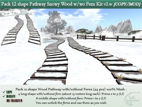 Wooden Winter Snowy Pathway 12 shapes for walkways-footpath-bridge w/wo cluster ferns.COPY/MOD. Kit Mesh.