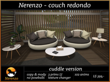 "Nerenzo sofa couch ""Redondo"" - cuddle version"