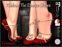 ** Ribboned Dance Shoes Crimson ** (Slink,Maitreya,Belleza,TMP)