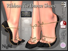 ** Ribboned Dance Shoes Night ** (Slink,Maitreya,Belleza,TMP)