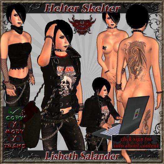 ~ HeLtEr SkElTeR ~ Lisbeth Salander COMPLETE AVATAR - Stieg Larsson - Millenium - Goth