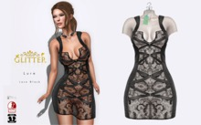GLITTER LURE FITMESH DRESS & STANDARD LACE SEE THROUG BLACK