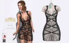 GLITTER LURE FITMESH DRESS & STANDARD LACE SEE THROUGH SILVER