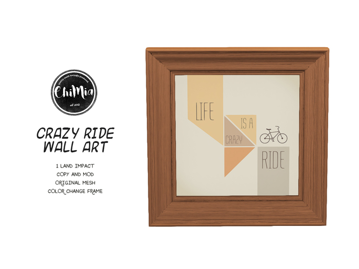 """ChiMia:: """"Life is a crazy ride"""" Wall Art"""