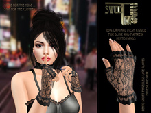 Bento Short Fingerless Lace Gloves: Pieced Lace Onyx mesh lace gloves for Maitreya Bento Hands and Slink Dynamic Hands