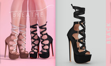 [BREATHE]-Chika Heels-Black-(for Slink High Feet & Maitreya Lara & Belleza)