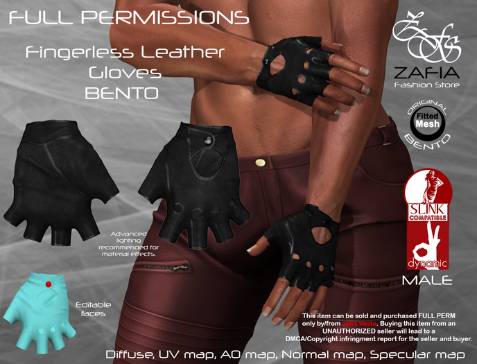 Full Perm-ZAFIA Fingerless Leather Gloves-Slink Male BENTO