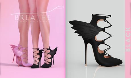 [BREATHE]-Raven Heels-Black-(for Slink High Feet & Maitreya Lara & Belleza)