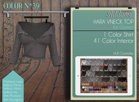 "Addams ""Hara"" Mesh V-Neck Shirt for Maitreya, Belleza, Slink #39"