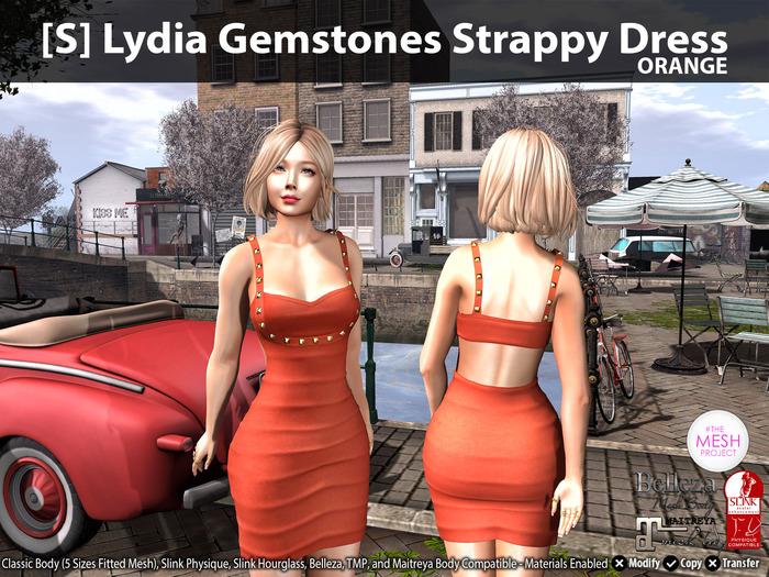 [S] Lydia Gemstones Strappy Dress Orange