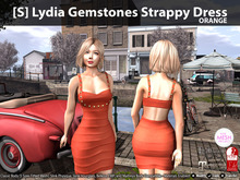 [S] Lydia Gemstones Strappy Dress Orange