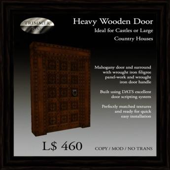 Heavy Mahogany Door with Filigree Wrought Iron Panels   [COPY]