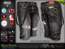 Klaus Male Mens Black Denim Ripped Jeans Shorts Pants - Mesh - TMP, Adam, Slink, Aesthetic, Signature - FashionNatic