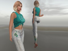 Paris METRO Couture: Paisley Straight Leg Jeans & Lotus knotted Top
