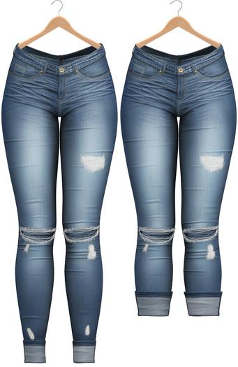 Blueberry - DWL Jeans - Fun Pack - Maitreya, Belleza (All), Slink Physique Hourglass - ( Mesh ) - Dark Blue