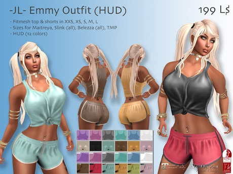 -JL- Emmy Outfit (HUD) for Maitreya, Slink (all), Belleza (all), TMP, Classic