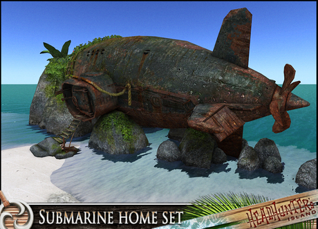 HeadHunter's Island - Beached Submarine Home/shelter - re-purposed wreck castaway lifestyle -  158+ animations - MESH