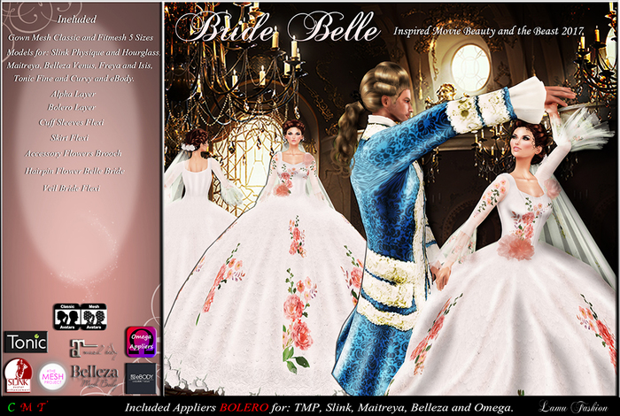 Second Life Marketplace Lamu Fashion Bride Gown Belle Beauty And The Beast 2017