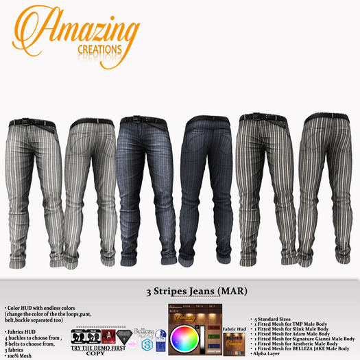 AmAzINg CrEaTiOnS 3 Stripes Jeans (MAR)